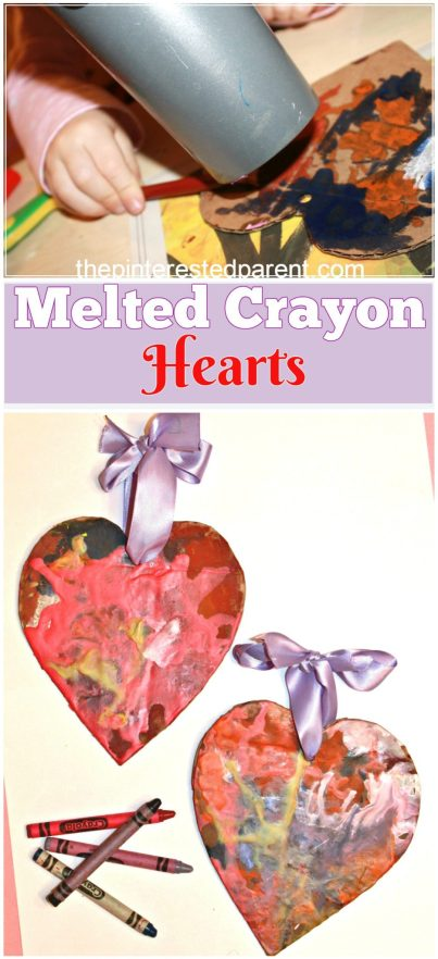 Melted Crayon Hearts for Valentine's Day - process art for kids