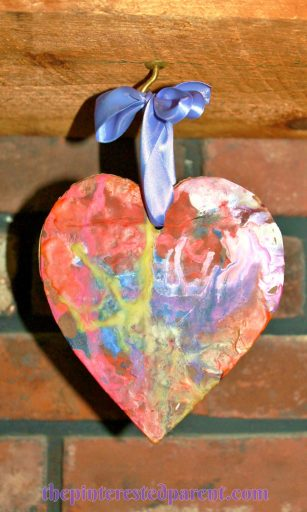 Melted Crayon Hearts - process art & crafts for kids