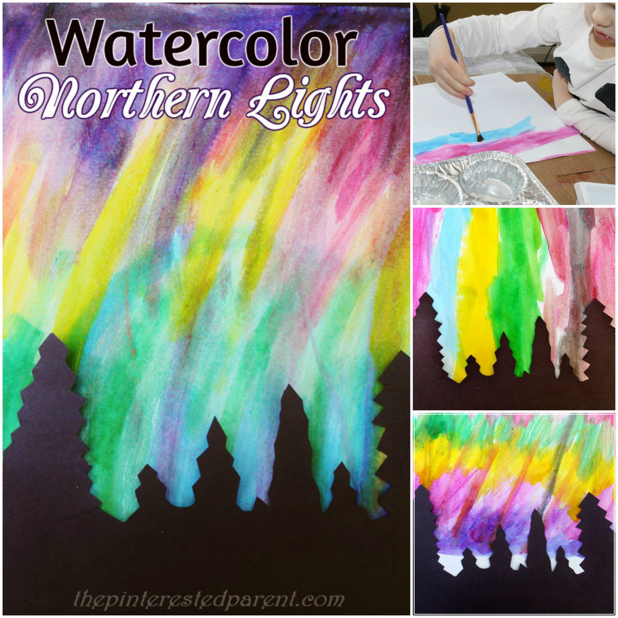 Pretty Northern Lights Paintings With Watercolors   Art U0026 Painting For Kids