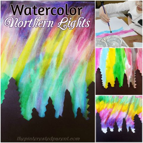Pretty Northern Lights paintings with watercolors - art & painting for kids