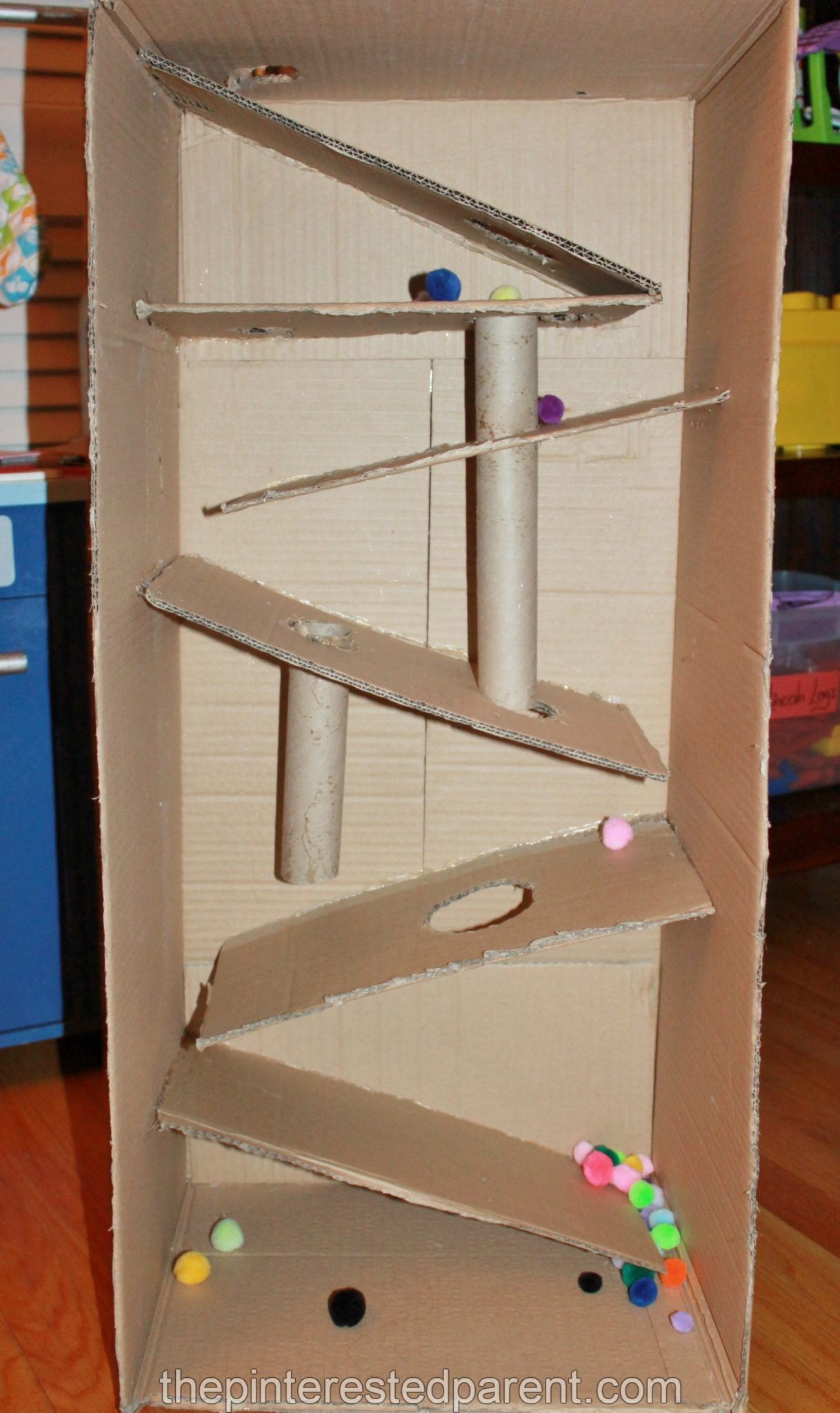 Cardboard box marble run the pinterested parent for What to do with old mailbox