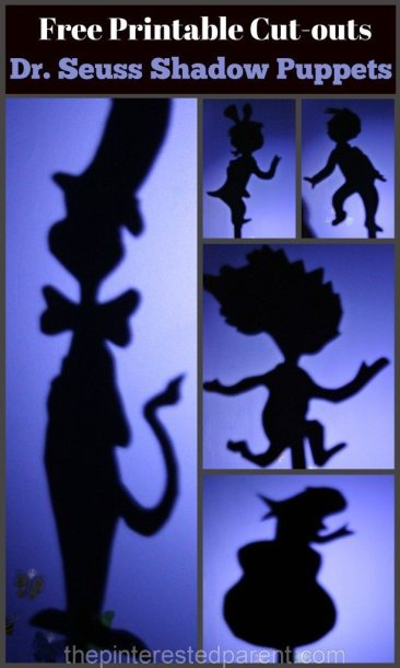 Dr. Seuss' 'The Cat In The Hat' Inspired shadow puppets with free printable cutouts.