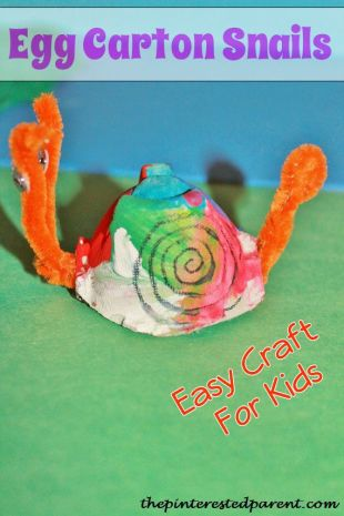 Egg carton snail craft for kids