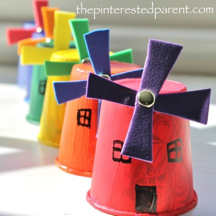 Paper Cup Windmill Craft - A cute & easy craft for kids with spinning windmill blades - Dixie cup craft