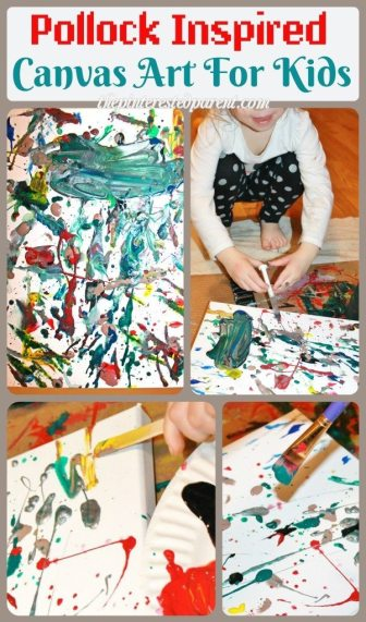 Jackson Pollock Inspired Drip & splatter canvas art painting for kids