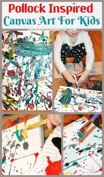 Jackson Pollock Inspired Drip & splatter canvas art painting for kids