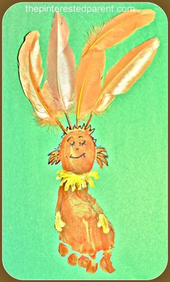 Kids Footprint craft inspired by Fiffer Feffer Feff from Dr. Seuss ABC book