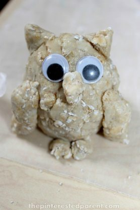 Oatmeal Play dough owl