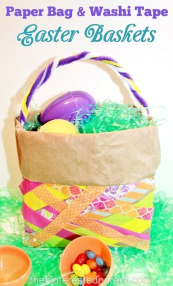 Paper Bag & Washi Tape Easter Egg Craft For Kids