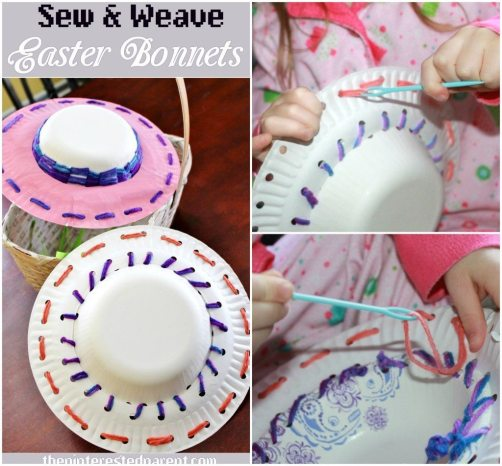 Sew & Weave Easter Bonnets - A cute & fun fine motor craft & activity for kids