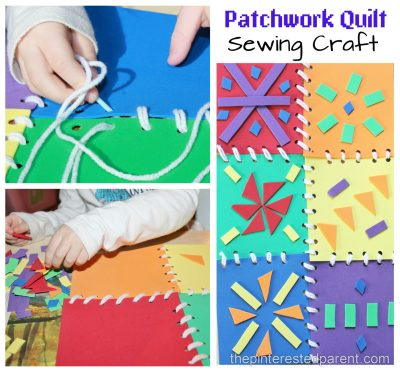 This is a great fine motor skill activity as well as a bright and pretty arts & craft project for the kids. Patchwork quilt sewing with foam pieces