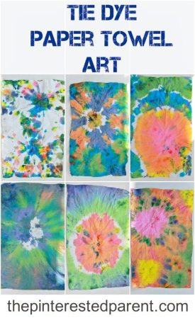 Tie Dye Paper Towel Art For Kids - A fun arts & craft project