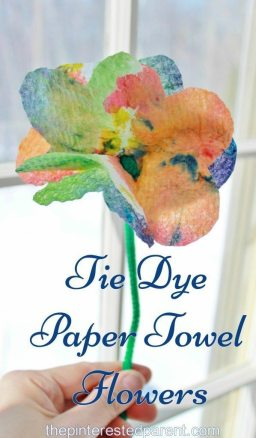 Tie Dye Paper Towel Flowers a pretty summer arts craft project for the kids