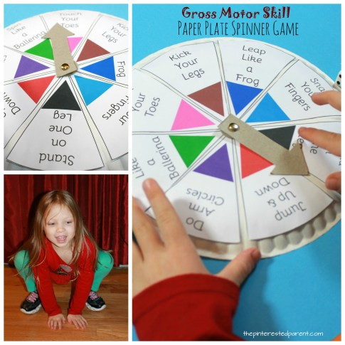Spin, Roll & Count Gross Motor Skill Game - paper plate spinner game for toddlers and preschoolers