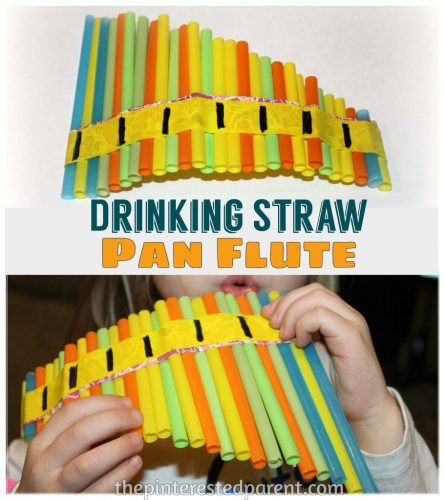 Drinking Straw Pan Flute - This is so simple to make & my daughter loved the airy whistle sound from her new instrument
