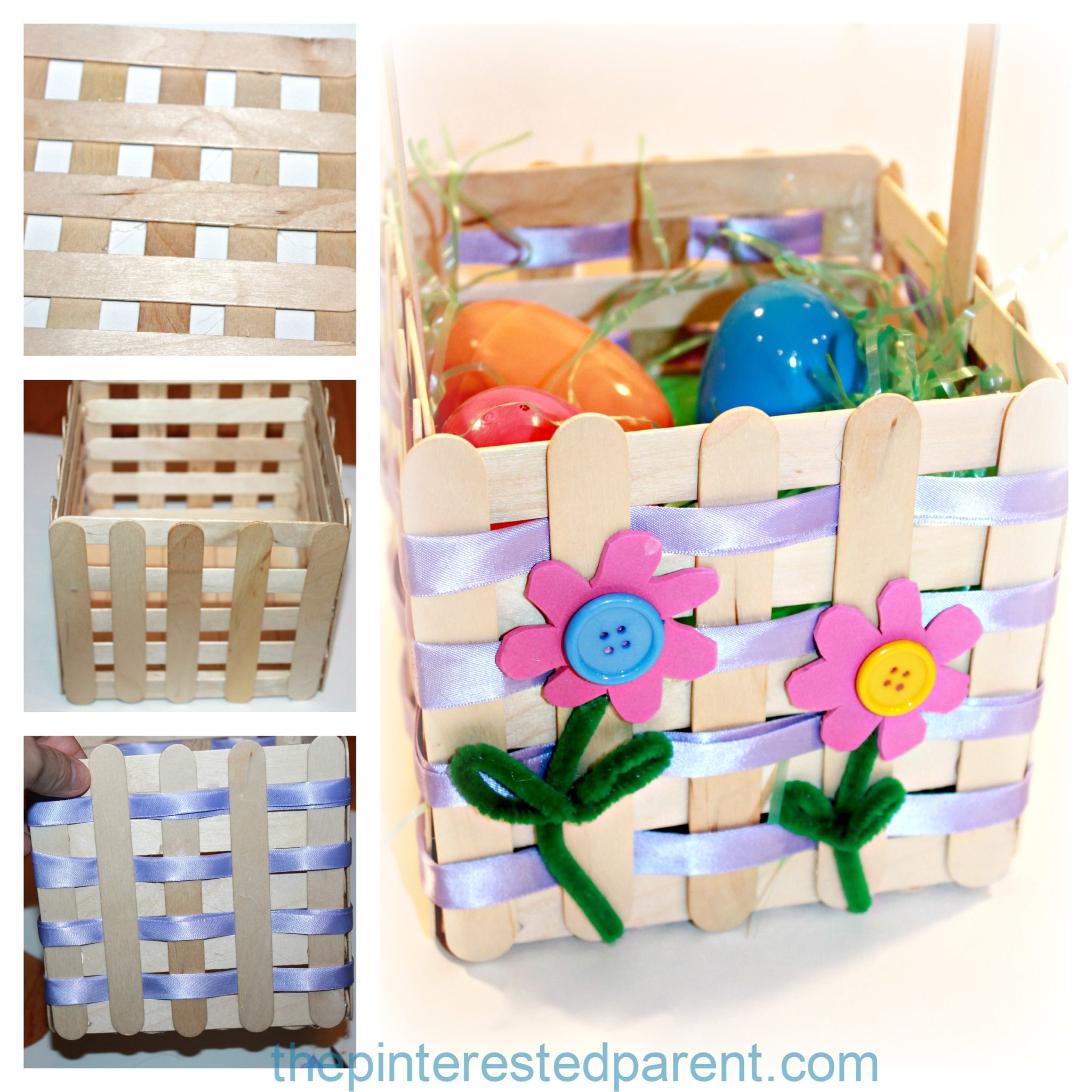 Popsicle Craft Stick Easter Basket