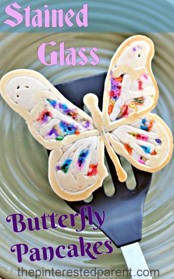 Stained Glass Butterfly Pancake - the kids will love these colorful springtime pancakes made with rainbow color sprinkles