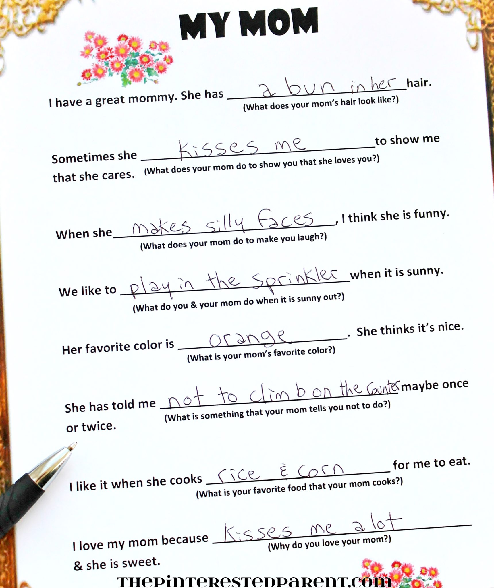 Free Fill In Mother S Day Poem The Pinterested Parent