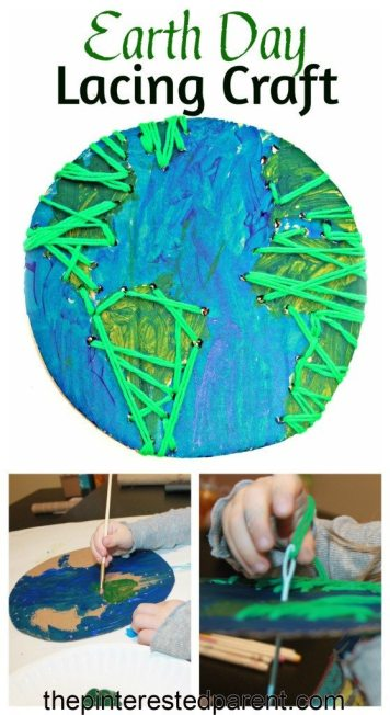 Earth Day Lacing Craft using recycled cardboard. A great fine motor activity & craft for kids
