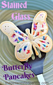 Stained Glass Butterfly Pancake - the kids will love these colorful springtime - pancakes made with rainbow color sprinkles