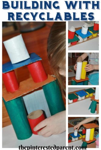 Use old cardboard toilet paper tubes & rolls and other recyclables to build. STEM engineering activities for kids.