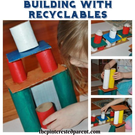 Use old cardboard tubes & rolls and other recyclables to build. STEM activities for kids.