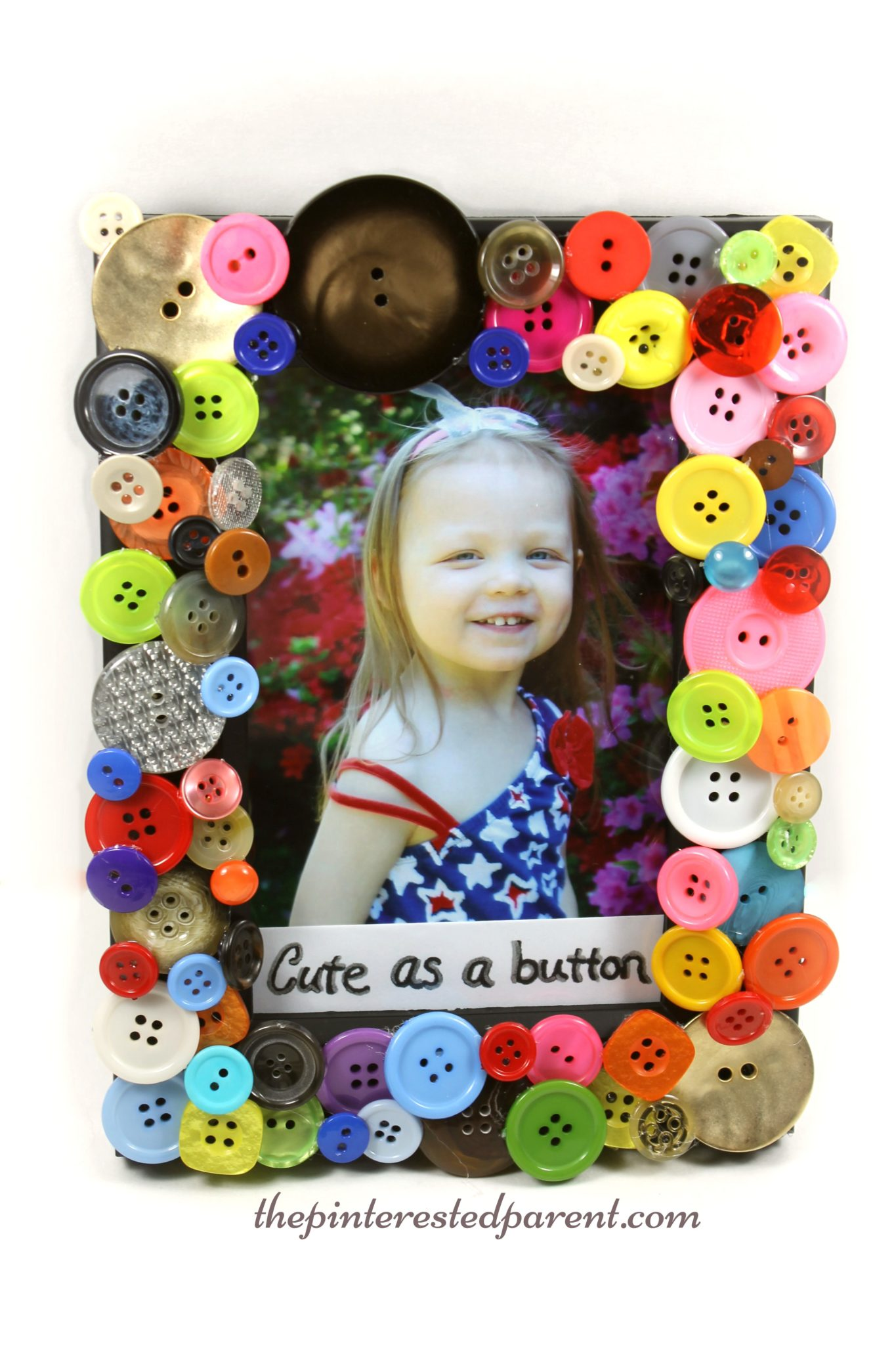 Cute as a button picture frame the pinterested parent for Michaels crafts button maker