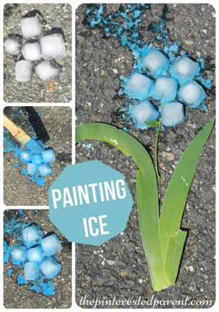 Painting ice is perfect fot a hot summer's day - painted ice flower kid's arts & crafts .