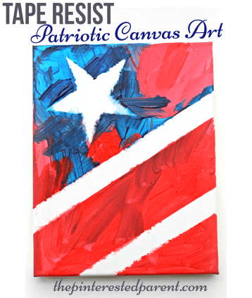 Patriotic canvas art - tape resist painting of the stars and stripes for kids.