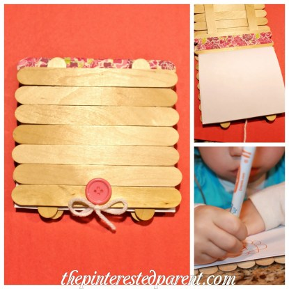 Popsicle Stick Art Journal for the kids. This is an adorable craft idea made out of craft sticks.