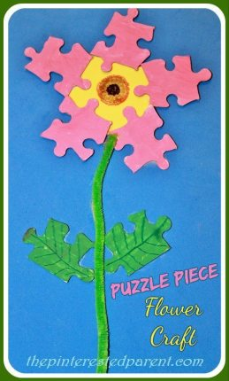 Don't toss your old puzzle pieces, Recycle them into a lovely kids craft for spring. Puzzle piece flower