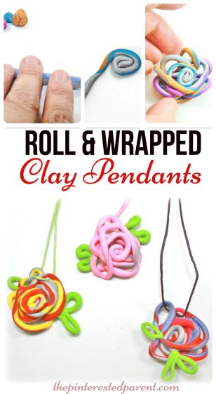Roll & Wrapped Polymer Clay Pendant Charms - an easy & fun to make jewelry arts & craft project. Great for kids, teens or adults to make. Cute gift idea..