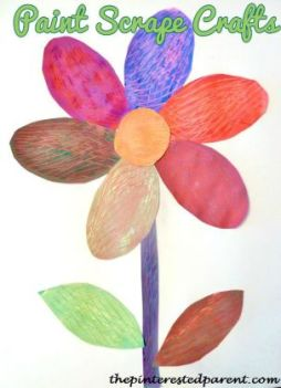 Create a flower craft with a textured look by using different utensils to scrape the paint of of your petal shapes. Fun kids craft