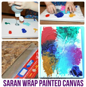 Canvas painting with Saran Wrap adds a little texture with lines & peaks to you abstract painting & it is fun for the kids. Kids arts & crafts