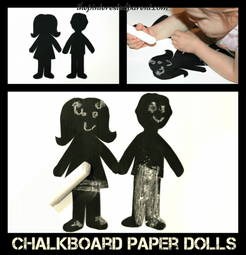 Chalkboard paper dolls - fun for kids to draw on the faces & clothes and erase again. Arts & crafts ideas & activities.