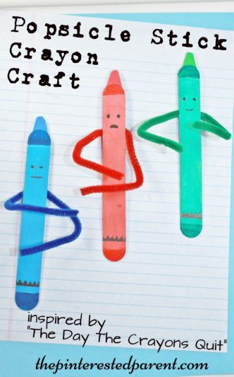 Craft stick crayon crafts inspired by the book The Day The Crayons Quit - Popsicle stick arts & crafts for kids..