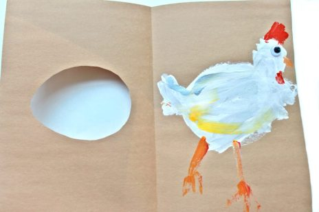 Kid's arts & craft project inspired by the book First The Egg. Open to reveal the chicken painting..