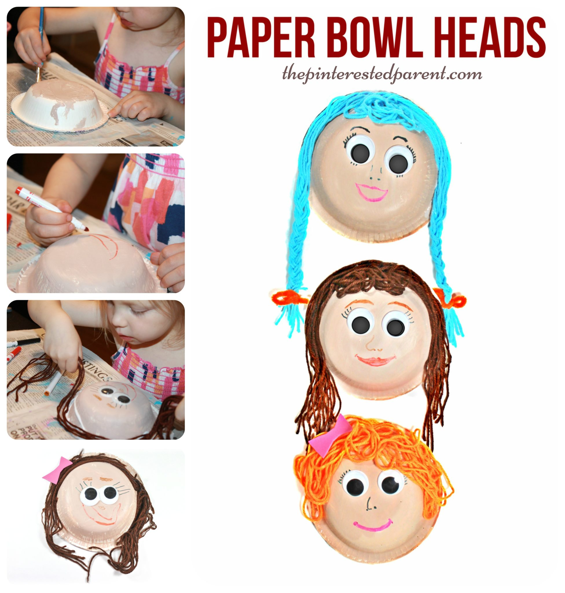 Paper Bowl Yarn Heads The Pinterested Parent