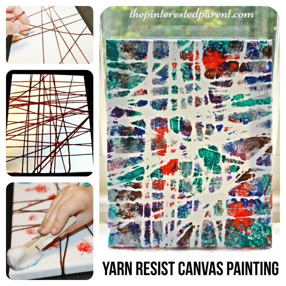 Yarn Resist canvas painting. Kid's arts and crafts projects