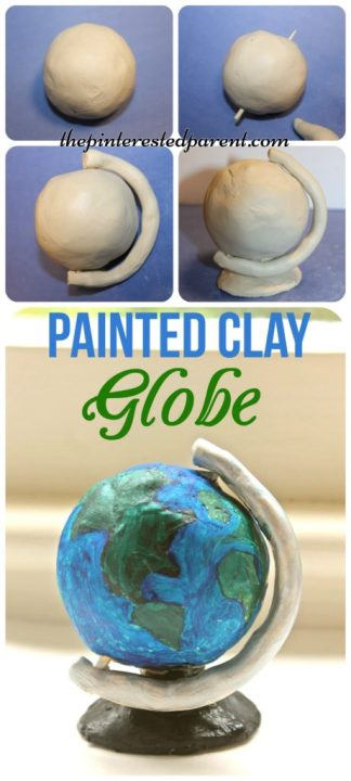 painted air dry clay globe sculpture craft -would be great for Earth Day arts & craft for the kids.