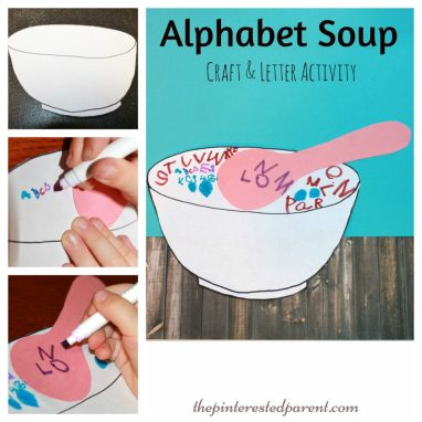 Alphabet Soup Craft & Letter Writing Activity For Kids - a fun way to practice writing their ABC's.