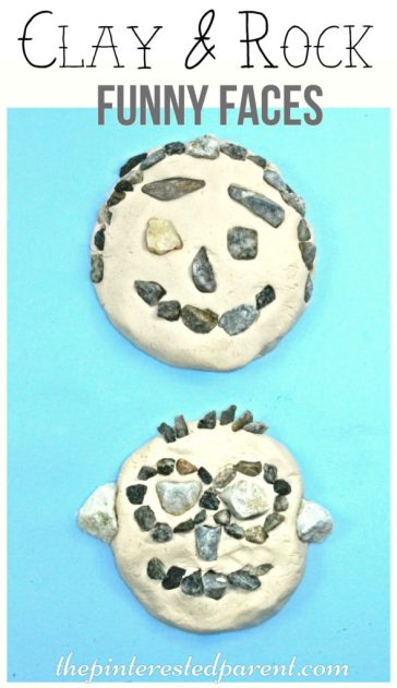 Clay Rock Nature Funny Faces - a fun summer arts crafts project for the kids
