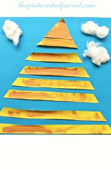 Egyptian pyramid craft for kids - preschooler arts & craft activities - Egypt.