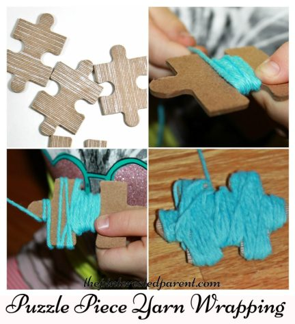 Fine motor activity for kids - use old puzzle pieces to wrap yarn..