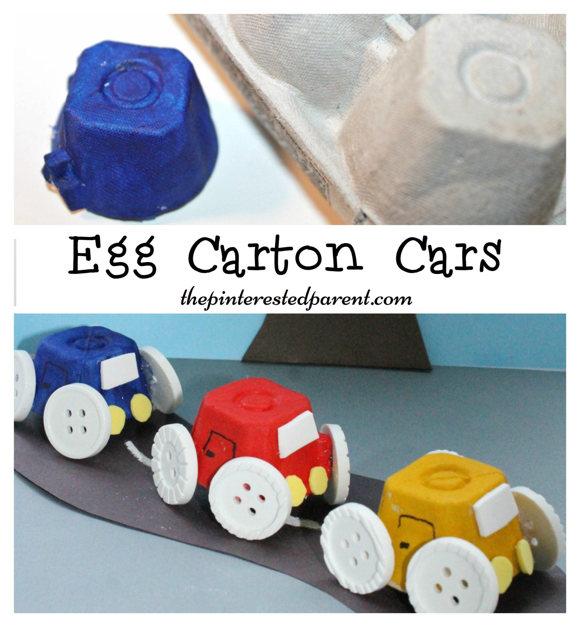 Egg carton cars the pinterested parent for Plastic egg carton crafts