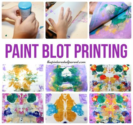 Super Fun messy art - paint ink blot print. Transfer your paint prints & make them again & again