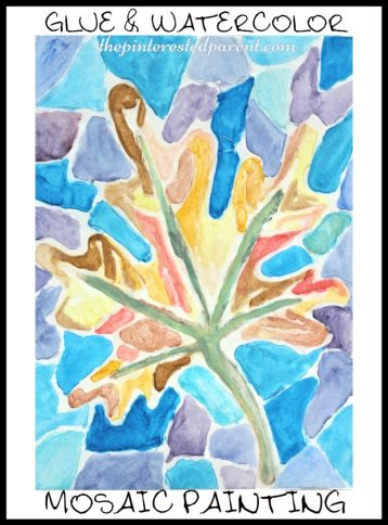 glue & watercolor mosaic painting - arts & crafts
