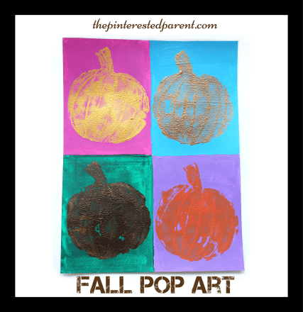 Andy Warhol inspired pumpkin pop art painting. Fall arts & crafts for the kids