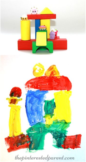 Build & Paint still life art for kids - construct your own still life with blocks..
