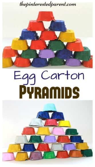 Egg Carton Pyramids - Egg Carton building blocks for kids - Engineering & STEM activities - kid's arts, crafts, learning & activities with recyclables
